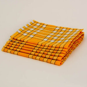 Serviette de table coton carreaux jaune