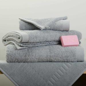 Drap de douche-bain-gant Eponge gris perle